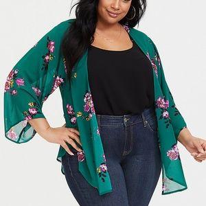 Torrid Plus Size Green Purple Chiffon Kimono